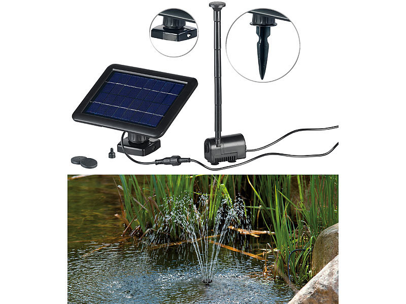 royal gardineer solarpumpe teich und springbrunnen pumpe mit 2 watt solarpanel und akkubetrieb. Black Bedroom Furniture Sets. Home Design Ideas