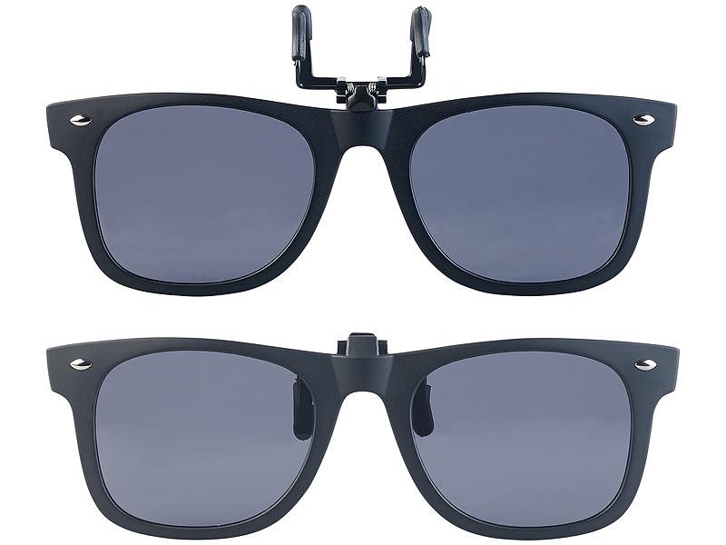 PEARL Sonnenbrille Aufsatz: 2er Set Sonnenbrillen Clips im