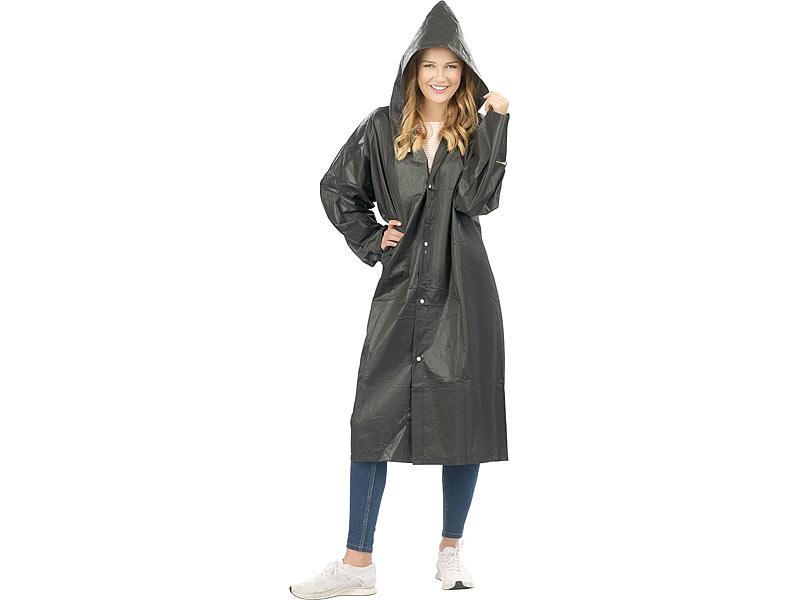 PEARL Regenjacke: Regenmantel mit Kapuze, Universalgröße