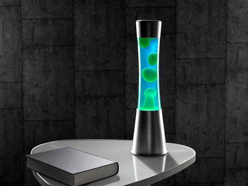 lunartec lava leuchten lavalampe mit blauer fl ssigkeit und gr nem wachs glas und aluminium. Black Bedroom Furniture Sets. Home Design Ideas