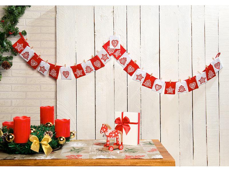 infactory Weihnachtskalender: Adventskalender-Girlande mit 24 ...
