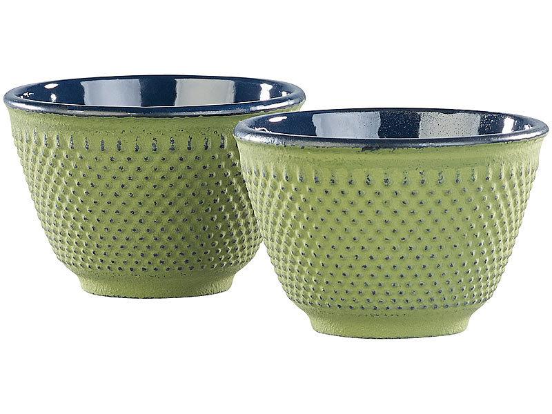 2er-Set asiatische Teebecher aus Gusseisen und Emaille olivgrün Teecup