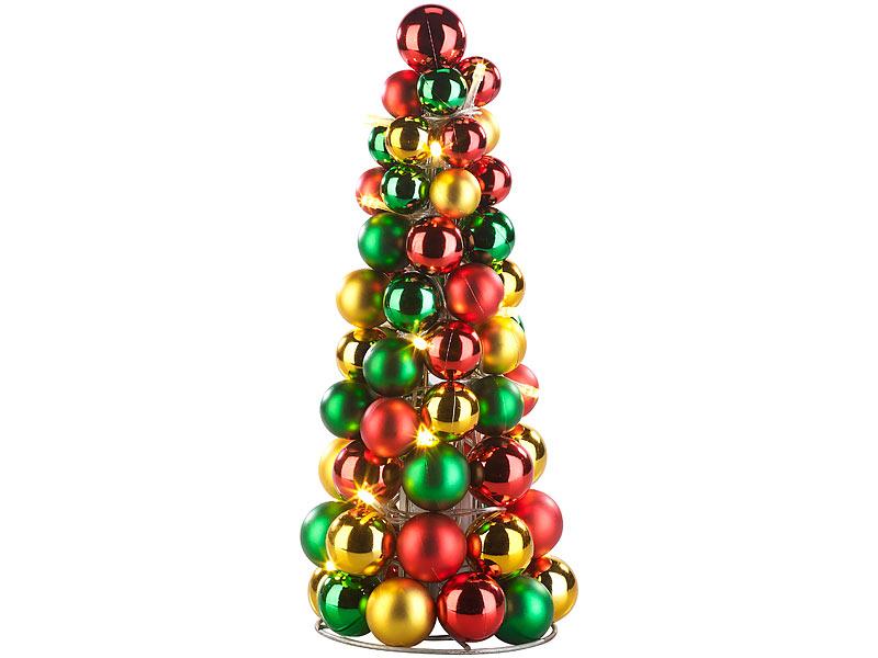 Britesta LED-beleuchtete Weihnachtsbaum-Pyramide mit bunten Kugeln ...