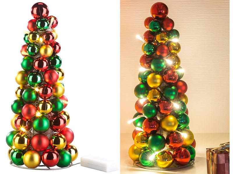 Beleuchtete Christbaumkugeln.Britesta Led Beleuchtete Weihnachtsbaum Pyramide Mit Bunten Kugeln
