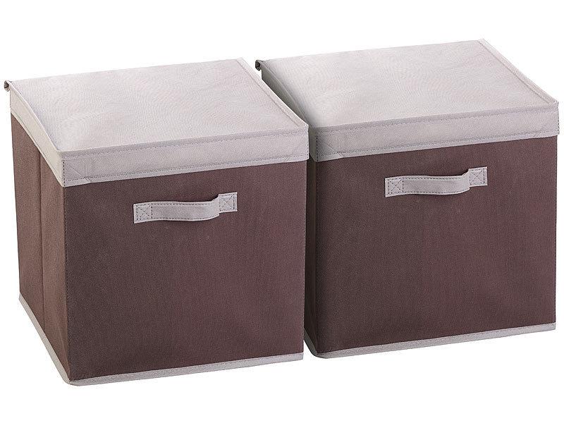 pearl faltbox mit deckel 2er set aufbewahrungsboxen mit deckel faltbar 31x31x31 cm braun. Black Bedroom Furniture Sets. Home Design Ideas