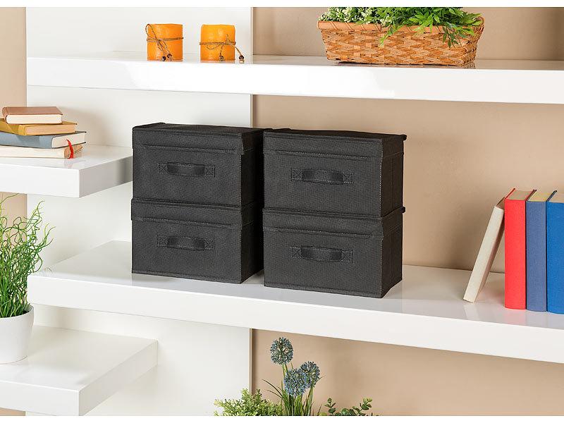 pearl aufbewahrung 4er set kleine aufbewahrungsboxen mit deckel faltbar 25 x 15 x 15 cm. Black Bedroom Furniture Sets. Home Design Ideas