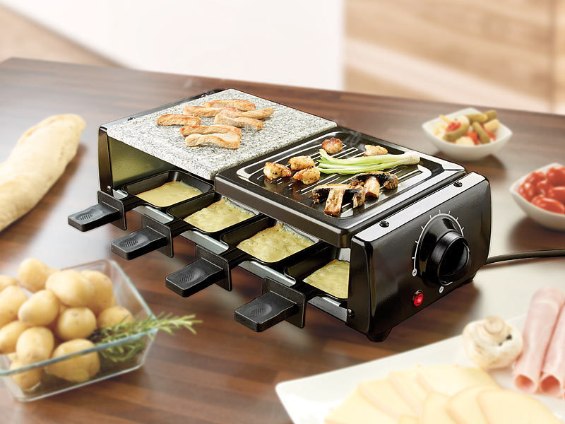 rosenstein s hne raclette fen raclette rcl 120 f r 8 mit grill und hei em stein watt. Black Bedroom Furniture Sets. Home Design Ideas