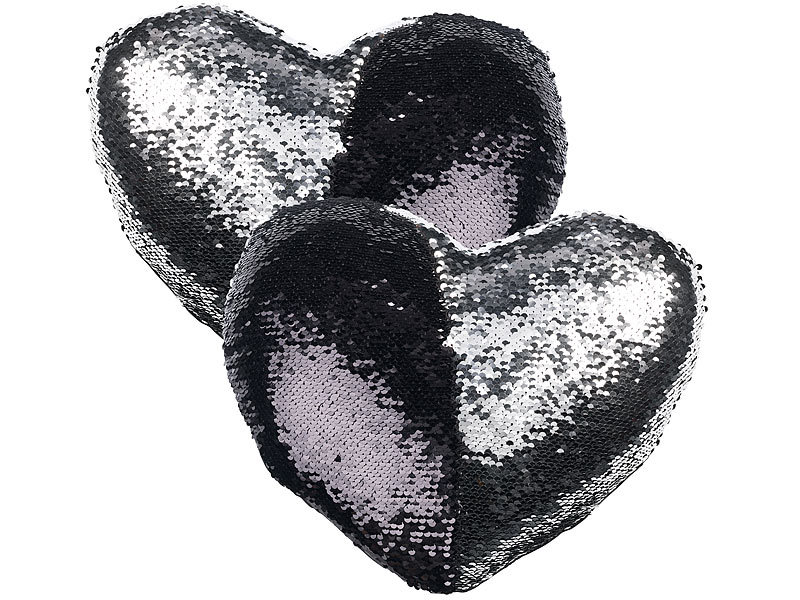 wilson gabor pailletten kissen herz 2er set deko pailletten kissen in herzform velours. Black Bedroom Furniture Sets. Home Design Ideas