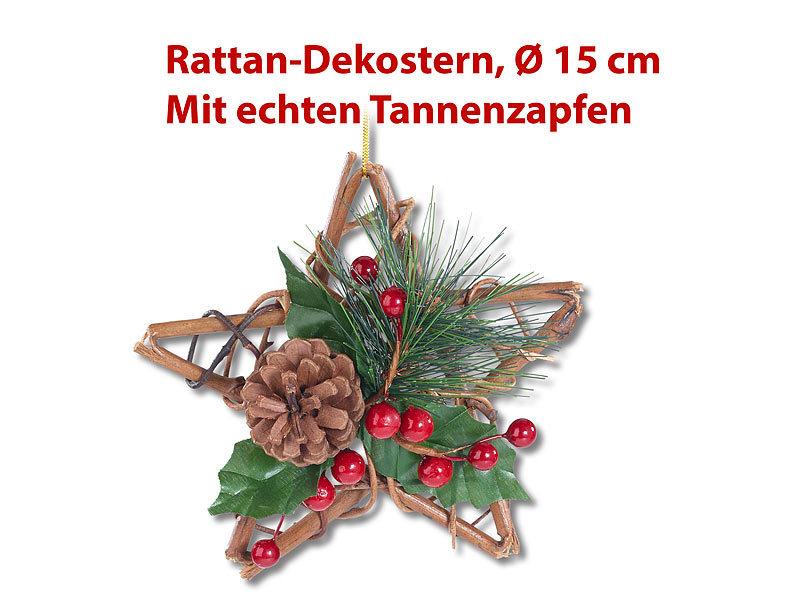 Britesta Hängedeko Weihnachten: Handgefertigter Rattan-Dekostern mit ...