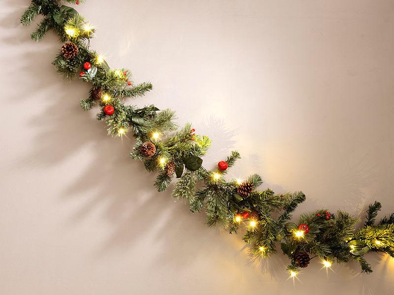 britesta weihnachtsgirlanden deko tannengirlande geschm ckt beleuchtet mit 20 leds 180 cm. Black Bedroom Furniture Sets. Home Design Ideas