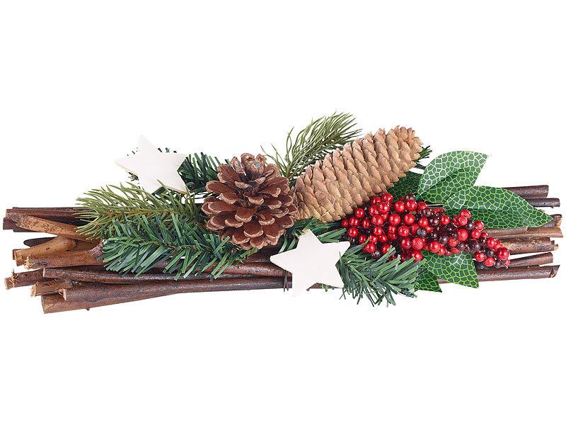 britesta tischdeko handgefertigtes weihnachts adventsgesteck echte tannenzapfen 30cm. Black Bedroom Furniture Sets. Home Design Ideas