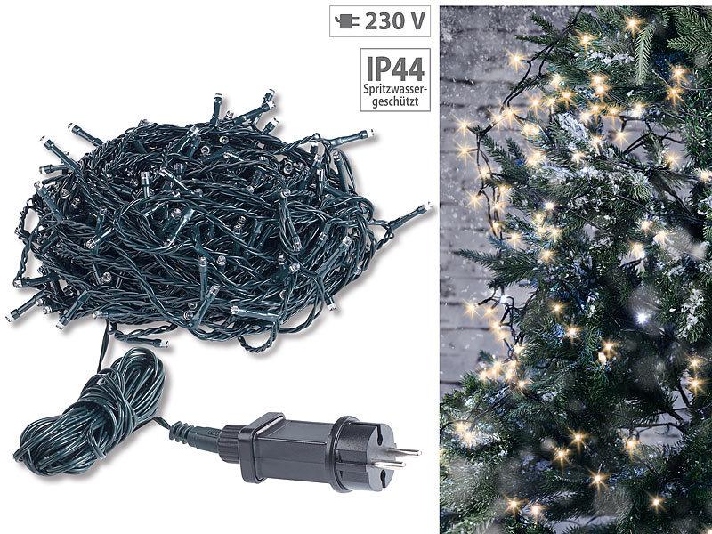 Lichterkette Weihnachtsbaum Außen.Lunartec Weihnachts Lichterkette Led Lichterkette Mit 320 Leds Für