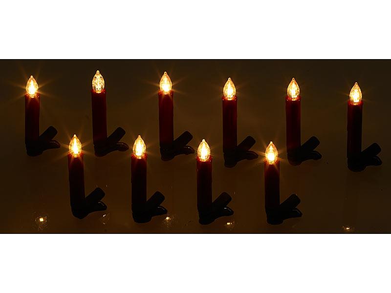 Lunartec led baumkerzen 20er set led weihnachtsbaum kerzen mit ir fernbedienung rot - Baumkerzen led kabellos ...