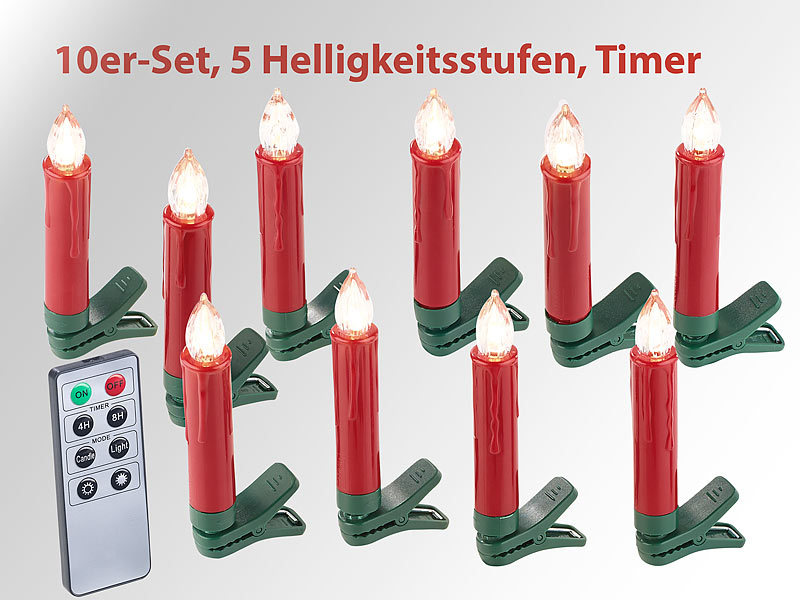 lunartec led christbaumkerzen 20er set led weihnachtsbaum kerzen mit ir fernbedienung rot. Black Bedroom Furniture Sets. Home Design Ideas
