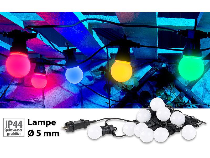 Lunartec Party-LED-Lichterkette m 6 Watt 9,5 m IP44 20 LED-Birnen 4-farbig