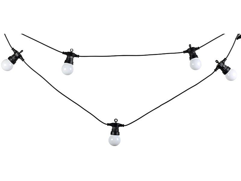 lunartec lichterkette gl hbirne party led lichterkette m 20 led birnen 6 watt ip44 warmwei. Black Bedroom Furniture Sets. Home Design Ideas