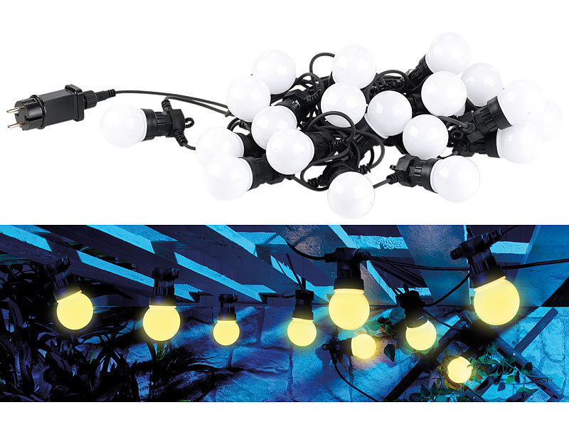 lunartec lichterketten outdoor party led lichterkette m 20 led birnen 6 watt ip44 warmwei. Black Bedroom Furniture Sets. Home Design Ideas
