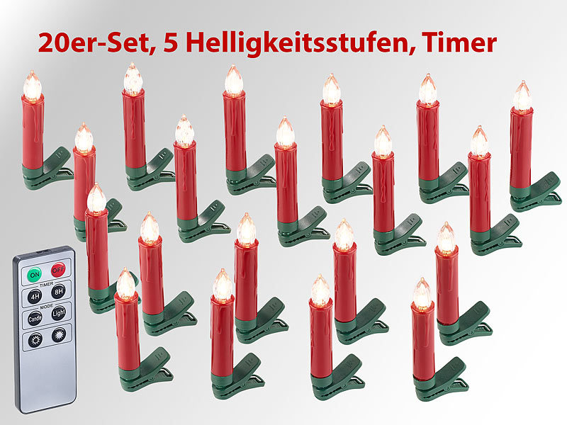 lunartec weihnachts deko 20er set led weihnachtsbaum. Black Bedroom Furniture Sets. Home Design Ideas
