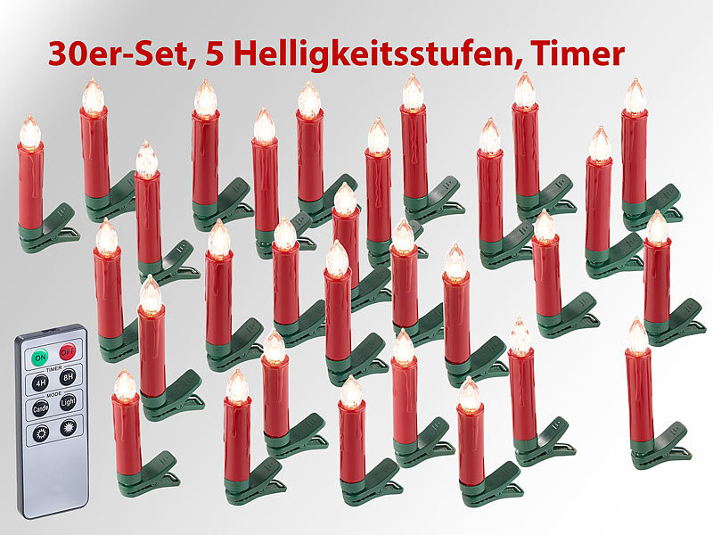 lunartec led baumkerzen 30er set led weihnachtsbaum kerzen mit ir fernbedienung rot kabellose. Black Bedroom Furniture Sets. Home Design Ideas