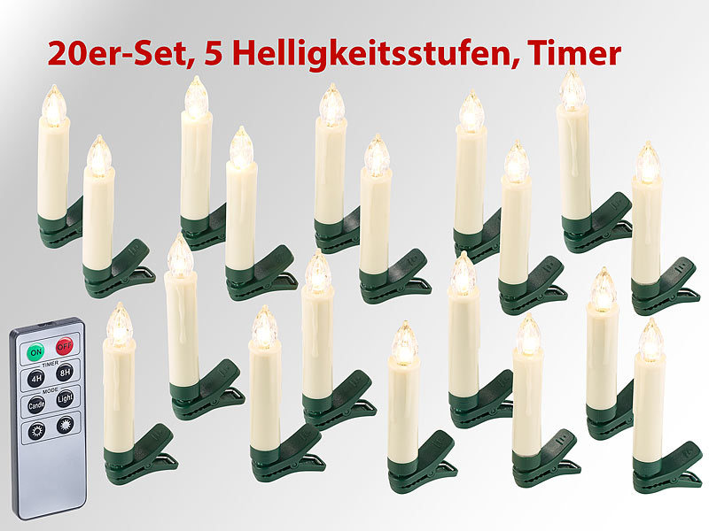 lunartec led tannenbaum kerzen 20er set led weihnachtsbaum kerzen mit ir fernbedienung timer. Black Bedroom Furniture Sets. Home Design Ideas