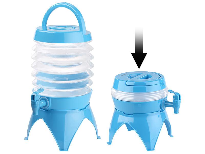 pearl getr nkespender faltbares f sschen auslaufhahn st nder 3 5 liter blau transparent. Black Bedroom Furniture Sets. Home Design Ideas