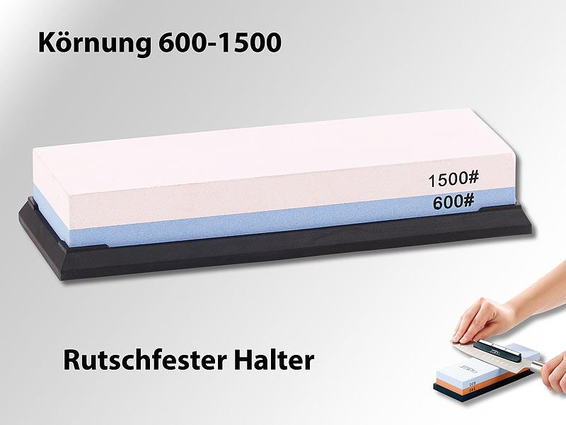 Doppel-Wasser-Schleifstein mit rutschfestem Halter, Körnung 600/1500