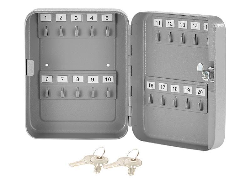 Xcase Schlüsselkästen: Stahl-Schlüsselschrank für 20 Schlüssel mit 2 ...