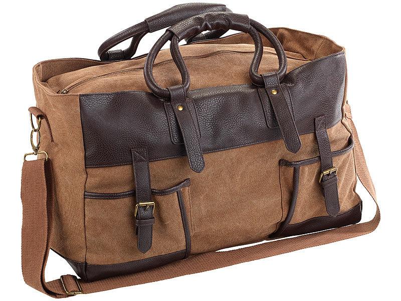 932ffea9d7961 Weekender  Xcase Canvas-Reisetasche mit 2 Außentaschen und Schultergurt