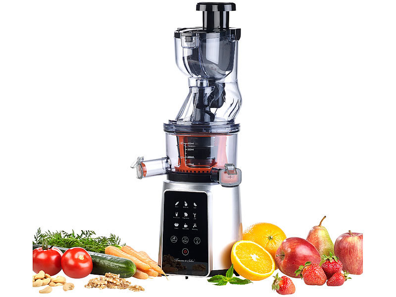 Rosenstein & Sohne Elektrischer Slow Juicer: Digitaler Slow Juicer & Kaltpress-Entsafter f ...