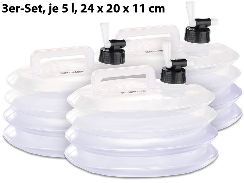 semptec frischwasser kansiter faltbare wasserkanister mit zapfhahn 5 liter rund 3er set. Black Bedroom Furniture Sets. Home Design Ideas