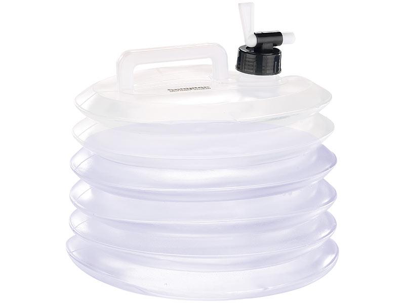 semptec wasserkaniseter faltbare wasserkanister mit zapfhahn 5 liter rund 3er set kanister. Black Bedroom Furniture Sets. Home Design Ideas