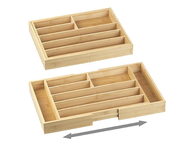 Besteckkasten Bambus weiß Besteckeinsatz Schubladeneinsatz Schubladenorganizer