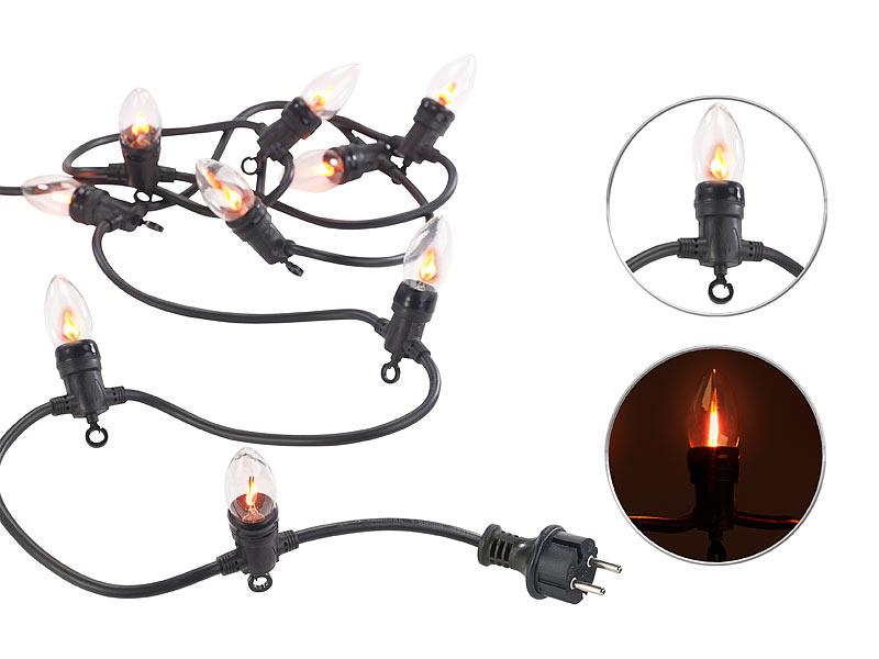 lunartec flacker lichterkette deko lichterkette mit 10 gl hbirnen in flammen optik ip44 4 2 m. Black Bedroom Furniture Sets. Home Design Ideas