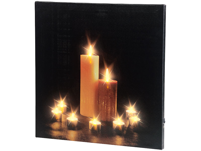infactory kerzenbild wandbild kerzenlicht mit flackernder led beleuchtung 40 x 40 cm led. Black Bedroom Furniture Sets. Home Design Ideas
