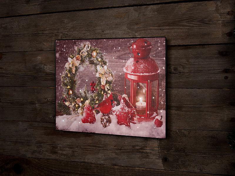 infactory wandbild weihnachtskranz mit laterne mit led. Black Bedroom Furniture Sets. Home Design Ideas
