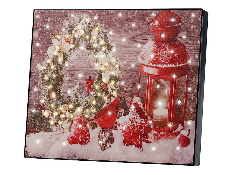 infactory bilder wandbild weihnachtskranz mit laterne. Black Bedroom Furniture Sets. Home Design Ideas