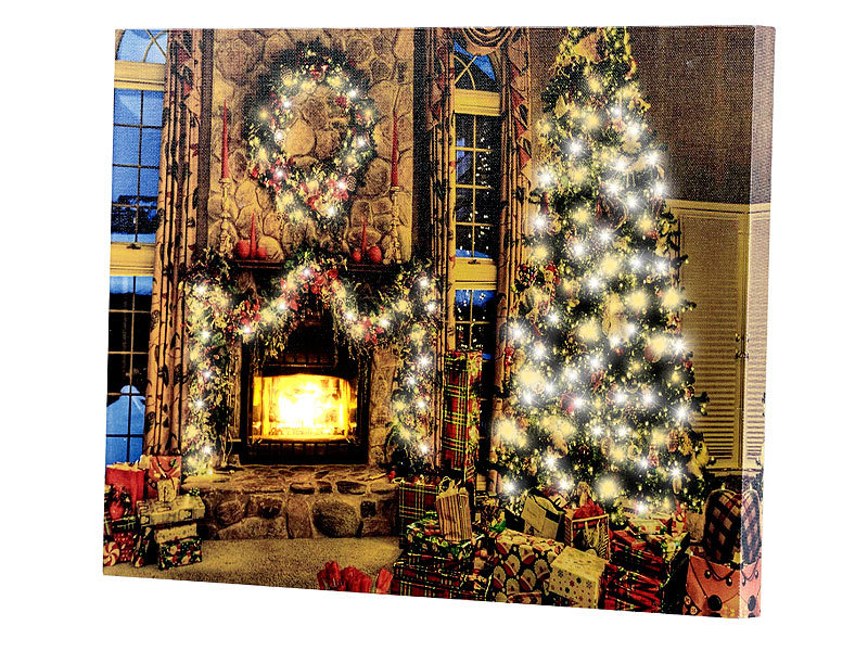 infactory weihnachtsbild wandbild weihnachtliches kaminzimmer mit flackernder led 40 x 30 cm. Black Bedroom Furniture Sets. Home Design Ideas