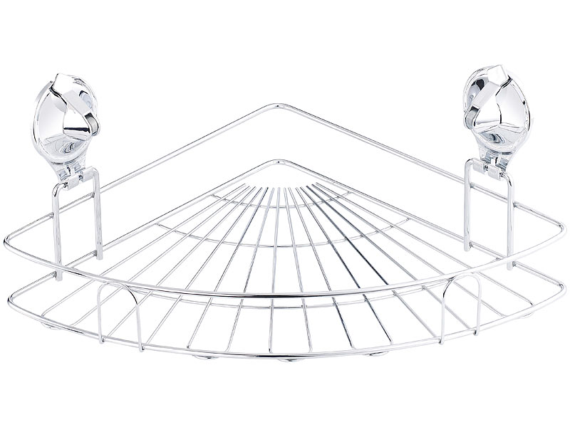 carlo milano eck ablage korb mit saugnapf halterung f r bad k che edelstahl. Black Bedroom Furniture Sets. Home Design Ideas