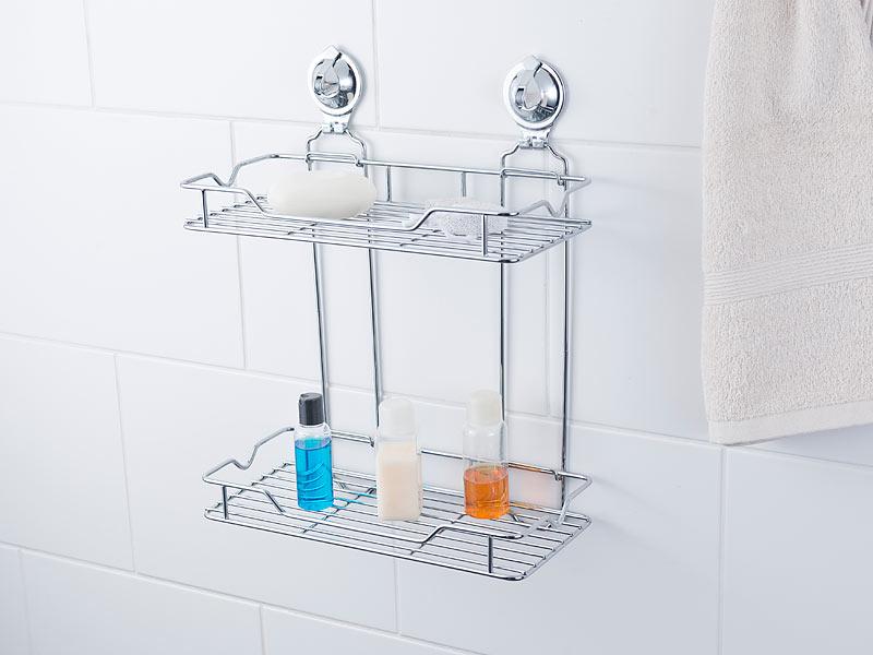 carlo milano duschregal gitter regal mit doppelter ablage und saugnapf halterung edelstahl. Black Bedroom Furniture Sets. Home Design Ideas