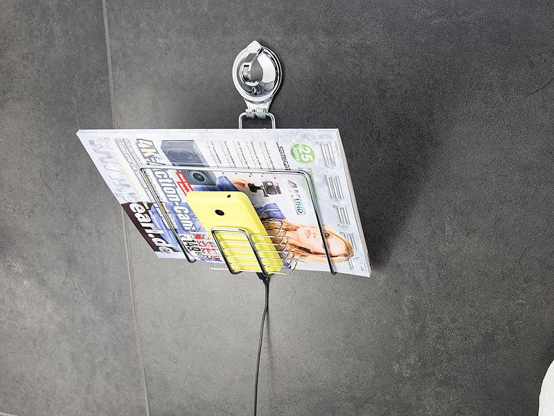carlo milano zeitschriftenhalter gitter ablage mit saugnapf halterung f r zeitschriften und. Black Bedroom Furniture Sets. Home Design Ideas