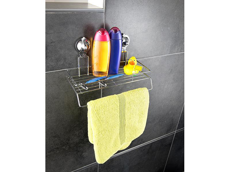 Handtuchhalter Dusche Ohne Bohren : Carlo Milano Gitter-Regal mit Handtuch-Halter und Saugnapf-Halterung