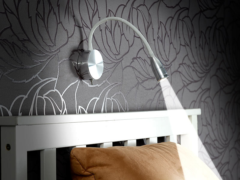 lunartec led bett lese leuchte mit schwanenhals wandmontage 3 w kaltwei. Black Bedroom Furniture Sets. Home Design Ideas