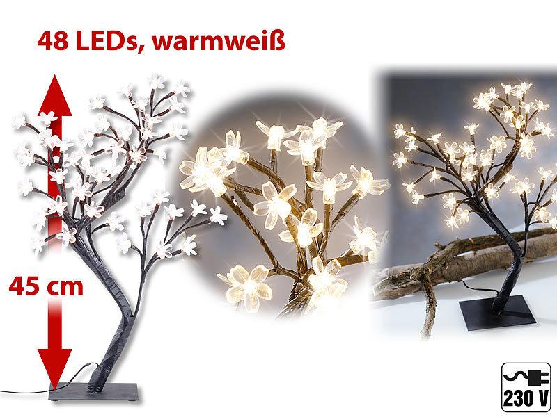 lunartec led baum led lichterbaum mit 48 leuchtenden bl ten und sockel 45 cm lichterzweig. Black Bedroom Furniture Sets. Home Design Ideas