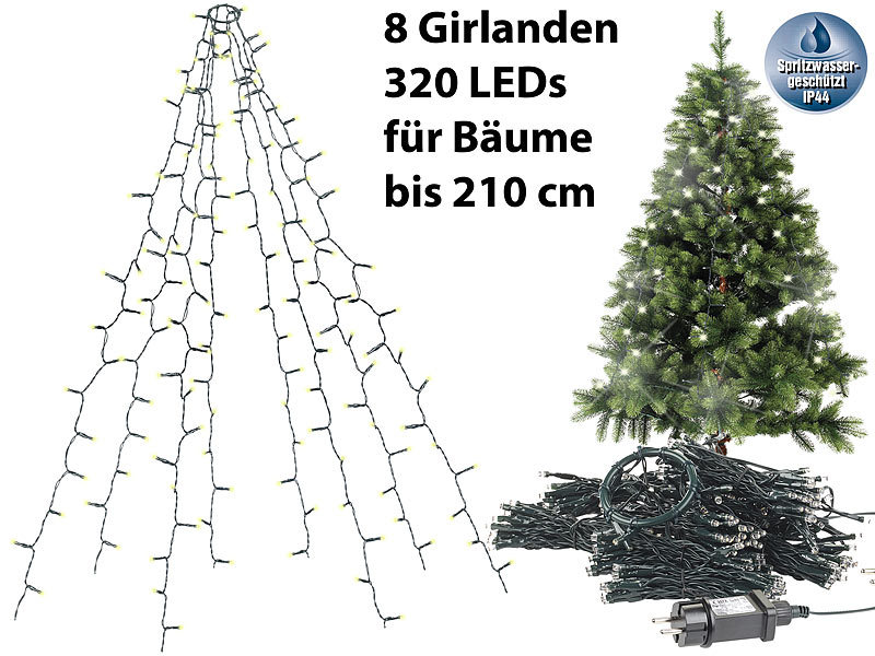 lunartec christbaum led berwurf weihnachtsbaum berwurf lichterkette mit 8 girlanden 320. Black Bedroom Furniture Sets. Home Design Ideas