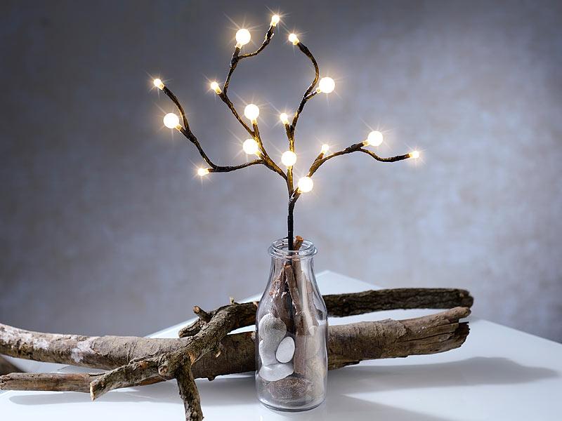 lunartec led zweige led lichterzweig mit 16 leuchtenden kugeln 44 cm batteriebetrieben led. Black Bedroom Furniture Sets. Home Design Ideas