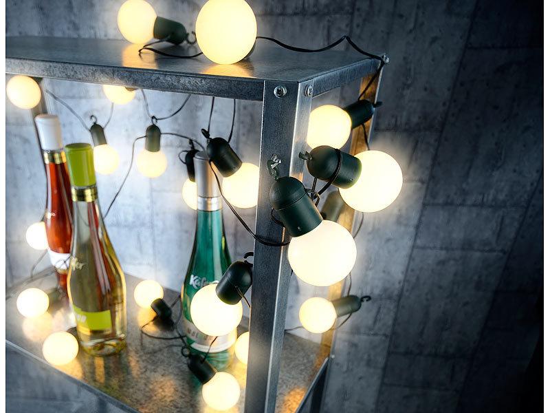 Lunartec Lichterkette Glühbirne: LED-Lichterkette mit 20 Lämpchen, 1 ...
