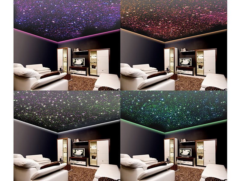 lunartec led lichtfaser set glasfaser rgb led sternenhimmel mit fernbedienung und 200. Black Bedroom Furniture Sets. Home Design Ideas