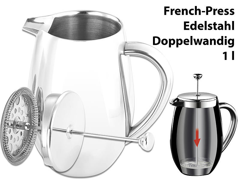 Thermo-Kaffeebereiter, French-Press, Edelstahl, doppelwandig, 1 Liter