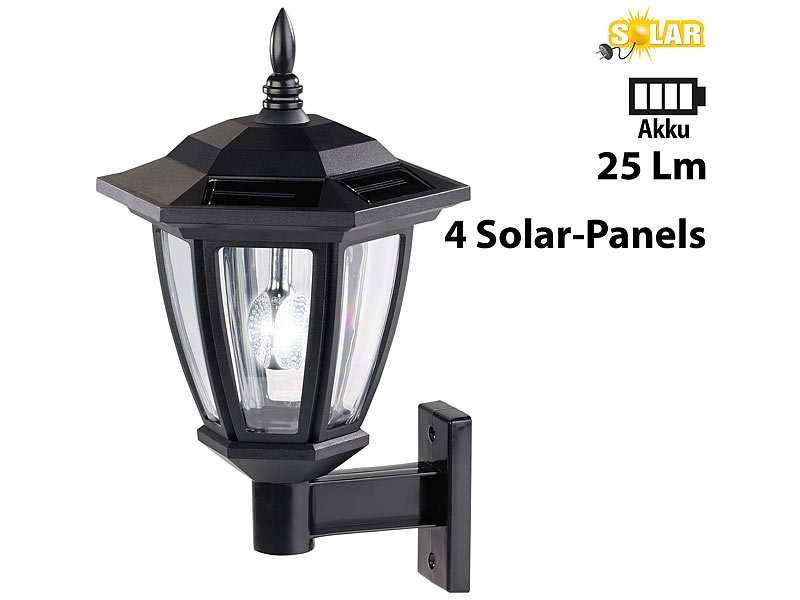 luminea solar wandlampe solar led au en wand leuchten wei es licht 25 lumen 2er set solar. Black Bedroom Furniture Sets. Home Design Ideas