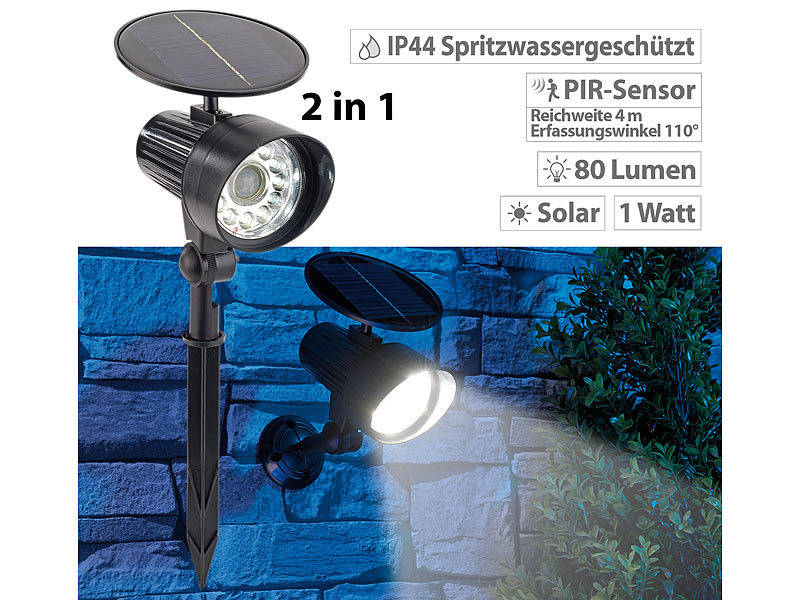 royal gardineer pir solarstrahler led 2in1 solar led wand. Black Bedroom Furniture Sets. Home Design Ideas